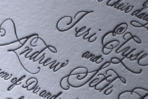 Jeri and Andy's beautiful letterpress wedding invitation